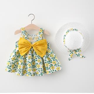 Đầm Họa Tiết Hoa Lá In Mới, Lớn Bow Ăn Mặc, Đầm Có Dây Đeo Cho Bé Gái, Mũ Miễn Phí