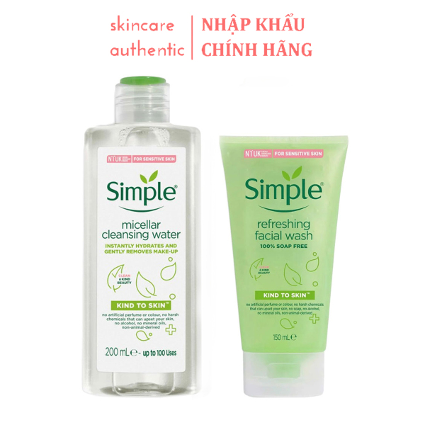 Combo Làm Sạch Simple Tẩy Trang + Sữa Rửa Mặt, combo dưỡng da làm sạch da chính hãng