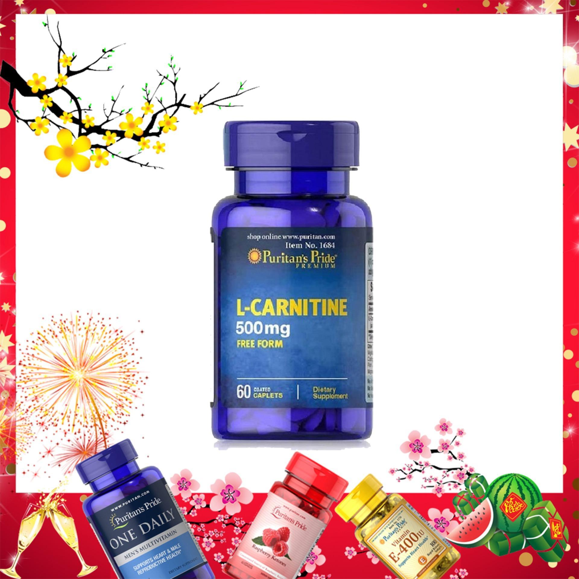 Viên uống hỗ trợ giảm cân, không tác dụng phụ, ngăn tích tụ chất béo giúp cơ thể săn gọn, tăng sức khỏe và sức bền, bổ thận Puritans Pride L-Carnitine 500mg 60 viên HSD tháng 3/2020