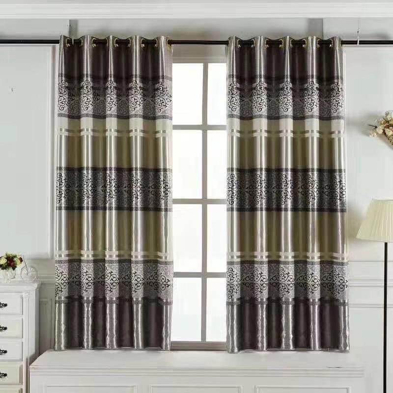 Rèm cửa vải trang trí khổ 2m cao cao cấp châu âu sọc hoa màu xám