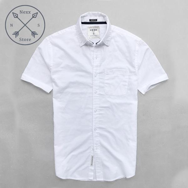 Áo sơ mi ngắn tay nam trắng eagel regular fit chất liệu oxford 100% cotton
