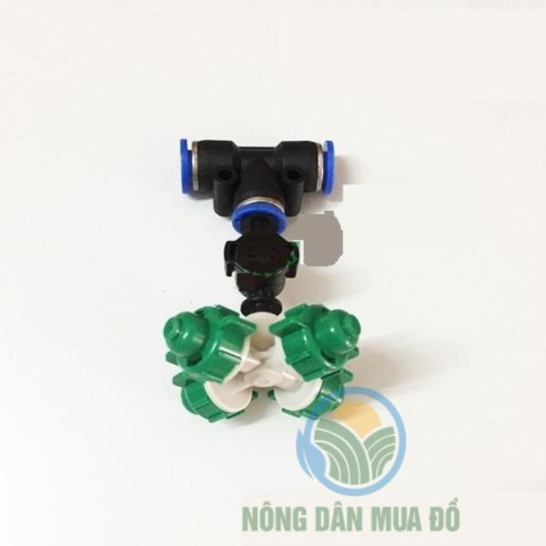 Bộ 10 Béc phun sương 4 hướng có van chống rỉ gắn kèm chân tê ống 8mm