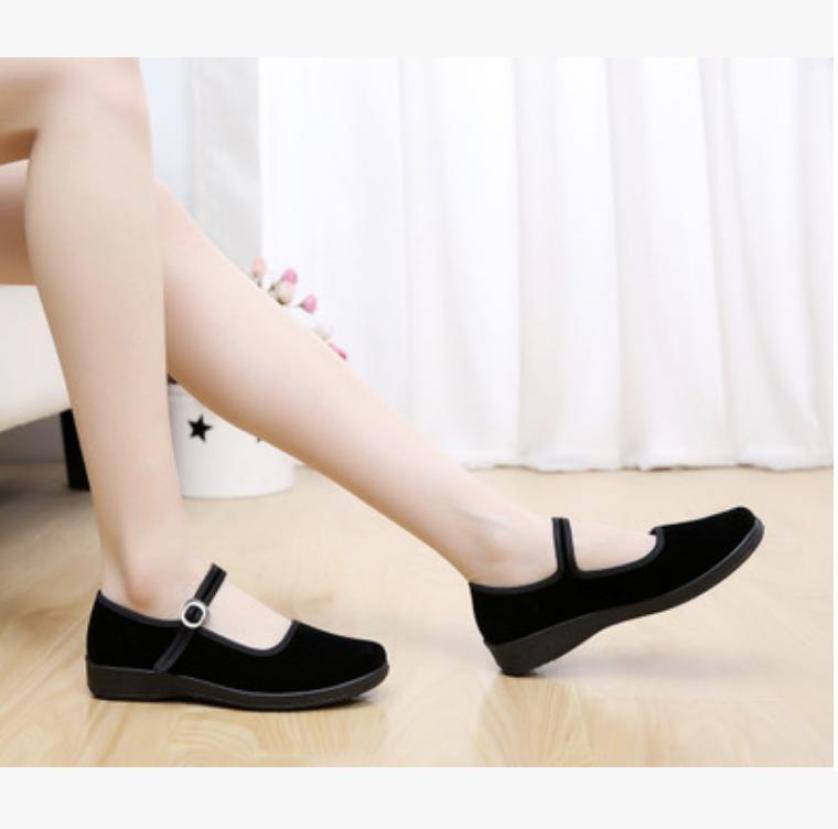 Giày công sở nữ đế xuồng cao 4cm hỗ trợ đi đứng nhiều êm chân, giày vải đi học mặc áo dài, giày búp bê vải đế cao su dẻo - BB199M giá rẻ