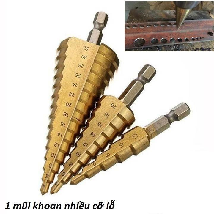 Bộ Mũi Khoan Đa Năng   ,   Bộ Mũi Khoan Mini   ,   Bộ Mũi Khoan Sắt   -   Bộ 3 Mũi Khoan Bước Tháp Titanium 4-32Mm,Khoan Sắt,Tôn - 167Vtth   ,   Hàng xịn , giá cực chất