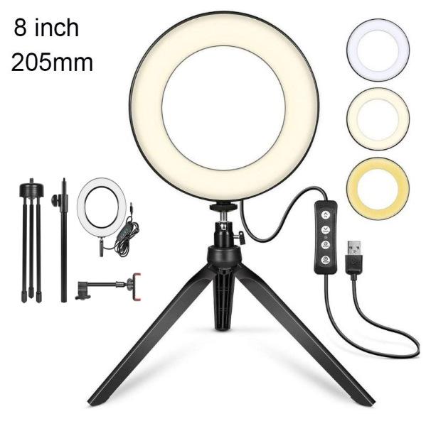 Đèn Led Livestream Cao Cấp, Đèn LED Selfie 6 inch 16 chân với giá đỡ ba chân Live Stream / Trang điểm / Video, Giá đỡ điện thoại di động có thể điều chỉnh độ sáng