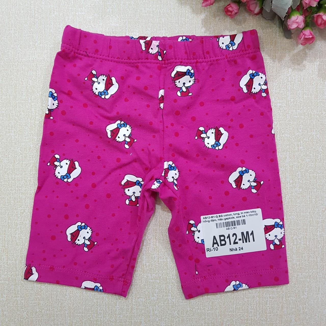 AB12-M1-  Quần bé gái, cotton, lửng, in mèo kitty,  hồng đậm, hiệu gapkids, size bé 1-10/ri9/