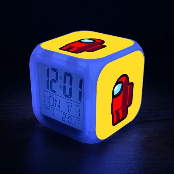 Đồng hồ báo thức để bàn in hình AMONG US VER 2021 anime chibi LED đổi màu