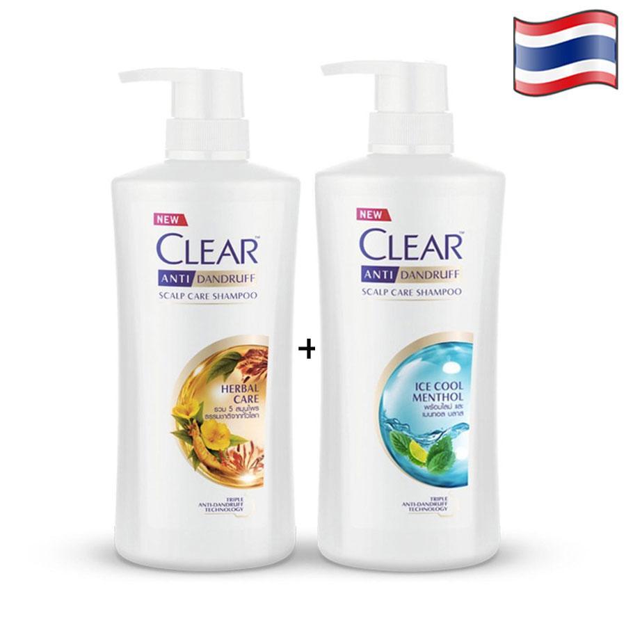 Combo 2 dầu gội CLEAR bạc hà 480ml và CLEAR thảo dược 450ml giá rẻ