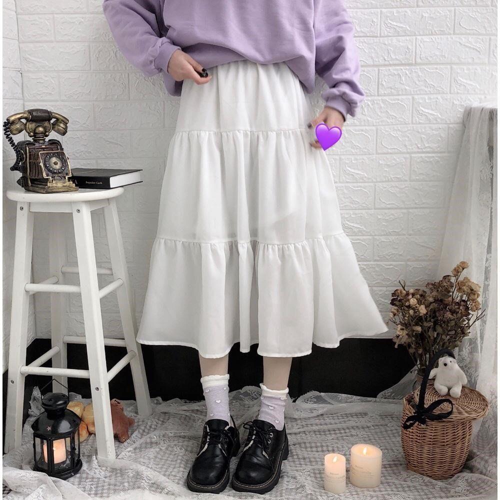 Offer Khuyến Mãi [Xả Kho Mùa Dịch} Chân Váy Nữ Dáng Dài 2 Tầng Chất Cotton Thoải Mái Năng động Thời Trang