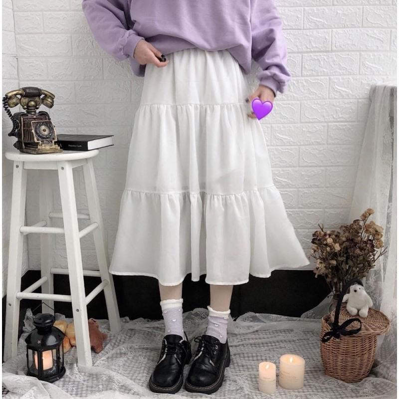 [Xả kho mùa dịch} Chân váy nữ dáng dài 2 tầng chất cotton thoải mái năng động thời trang