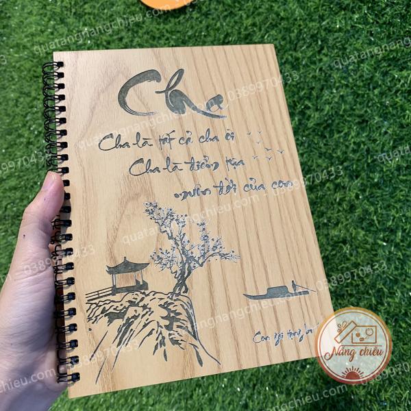 Sổ tay ghi chép tặng cha - Sổ gáy xoắn lò xo trẻ trung thiết kế bìa theo yêu cầu - Sổ ghi chép khắc chữ thư pháp Cha Mẹ