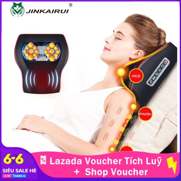 Jinkairui Gối mát xa cổ với hệ thống sưởi ấm nhào nặn Shiatsu có thể sử dụng trên xe hơi và tại nhà - INTL