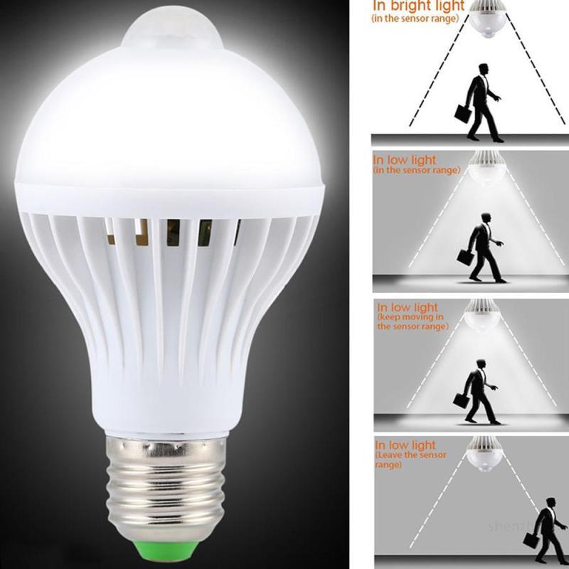 1 Cái đèn Cảm Biến Chuyển động Pir 5w Led Bóng đèn E27 Tự động Thông Minh Led đèn Hồng Ngoại Thân đèn Hồng Ngoại Với đèn Cảm Biến Chuyển động 【free Shipping】