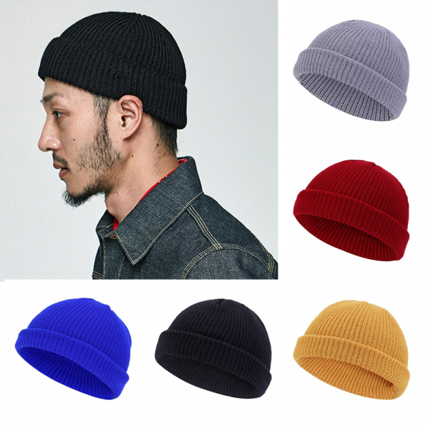 2YAO2YAO For Men Women Ribbed Cuffed Melon Cap Navy Style Beanie Hat Cuff Brimless Unisex Knitted Hat Skullcap Sailor Caps Beanies