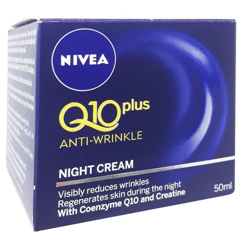 Kem giúp làm giảm nếp nhăn NIVEA Q10 Plus ban đêm hộp 50ml nhập khẩu