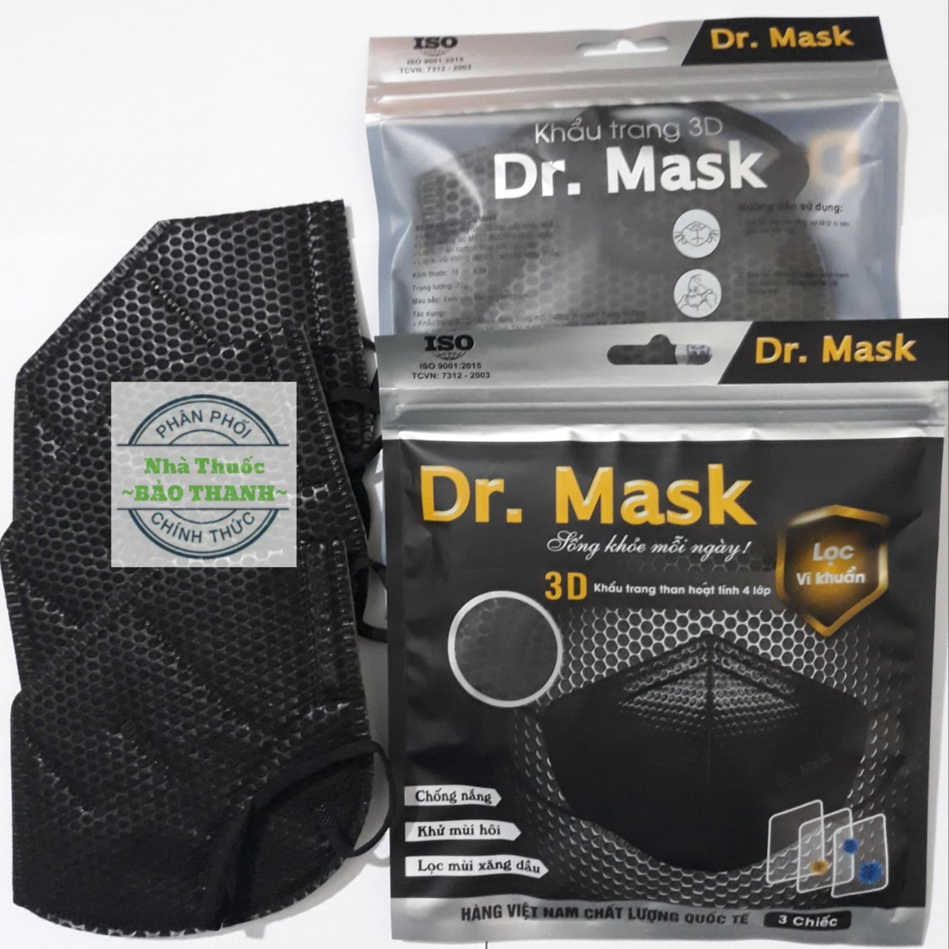 3 chiếc KHẨU TRANG Y TẾ 3D 4 lớp cao cấp DR.Mark - giặt sử dụng được nhiều lần cao cấp