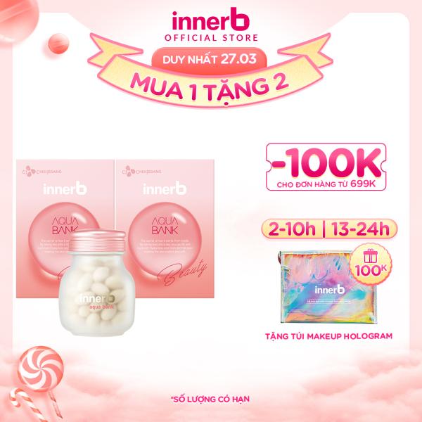 [ Tặng 1 túi make up ]Combo 2 thực phẩm bảo vệ sức khỏe Innerb Aqua Bank (giúp giữ ẩm cho da từ Axit Hyaluronic) lọ 56 viên giá rẻ