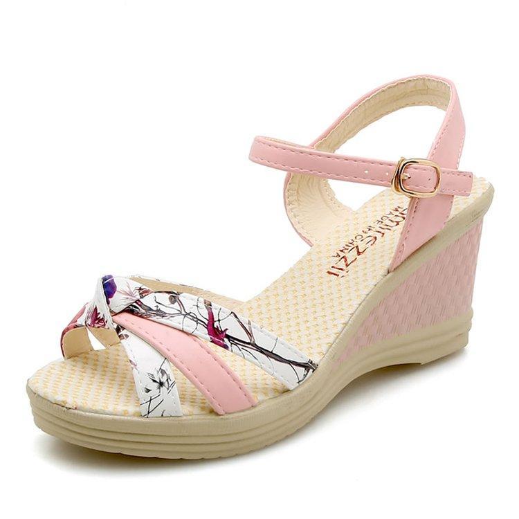 4344fce6c61bff 2018 Summer New Style Fashion Sweet Korean Style A-line Closure Waterproof Platform  High Heels