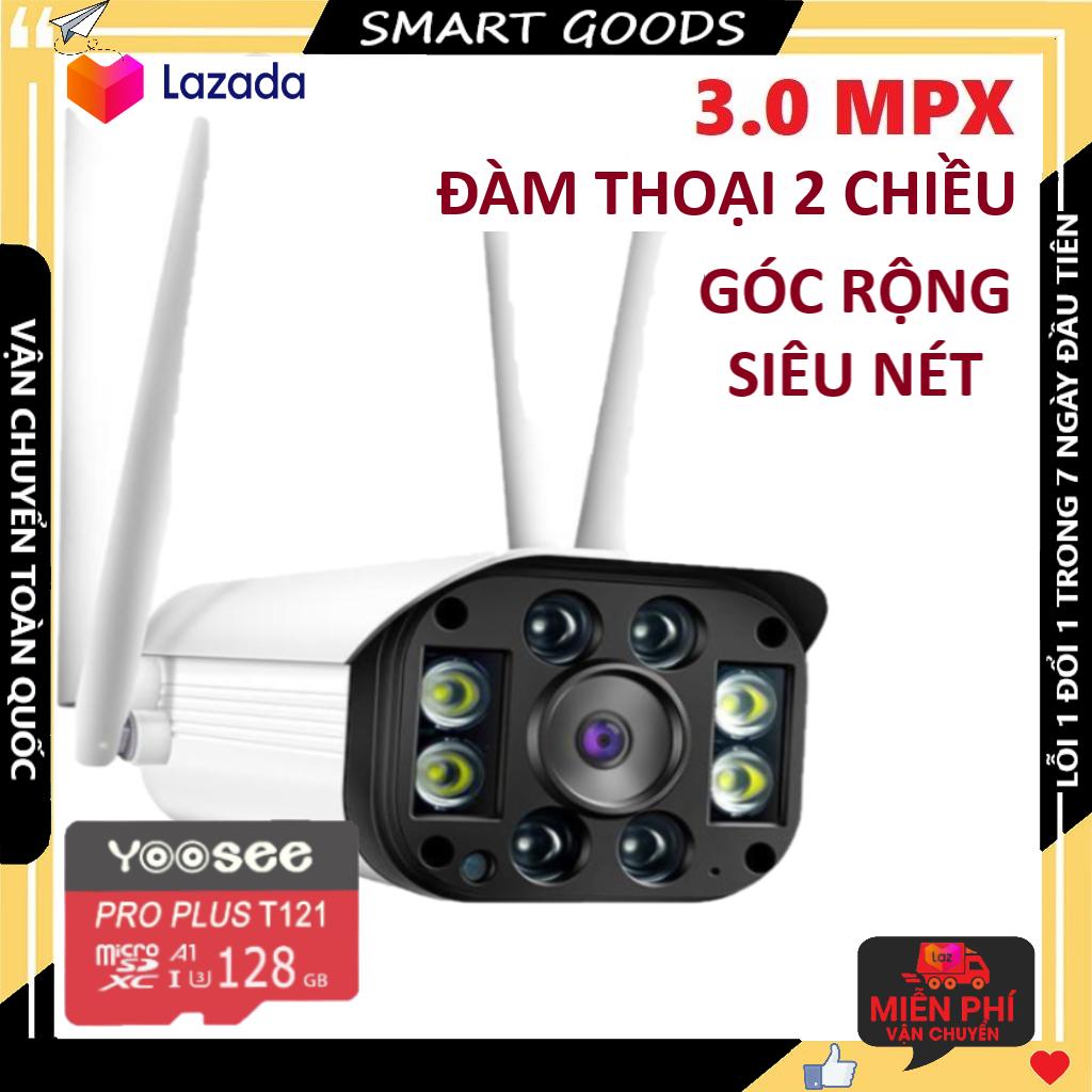 Camera Camera wifi Camera yoosee Camera ngoài trời 4 râu kèm thẻ nhớ 128gb - 3.0MPX chống nước, góc rộng, hiển thị màu ban đêm, cảnh báo chống trộm về điện thoại bảo hành 3 năm 1 đổi 1 trong 7 ngày