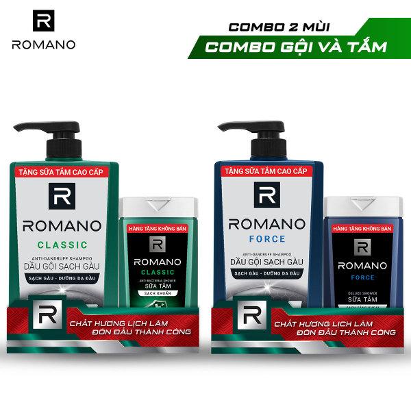 Dầu gội sạch gàu Romano 650g + Sữa tắm sạch khuẩn  150g
