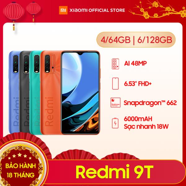 [XIAOMI OFFICIAL] Điện thoại Xiaomi Redmi 9T - Snapdragon 662 8 nhân | Màn hình 6.53 IPS | Pin 6000 mAh sạc nhanh 18W | Camera 48 MP | Cảm biến vân tay | Nhận diện khuôn mặt | Hỗ trợ 2 Sim - Bảo hành chính hãng 18 tháng