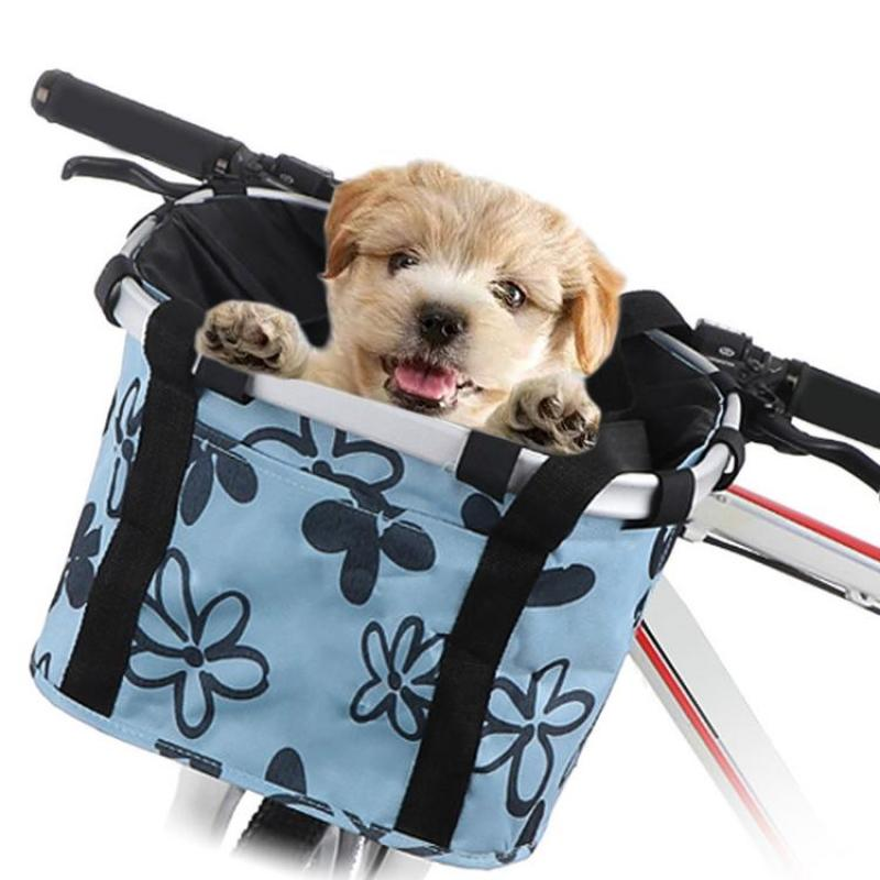 Bike Basket Foldable Small Pet Cat Dog Carrier Front Removable Bicycle Handlebar Basket Quick-Release Detachable Cycling Bag for Picnic Shopping