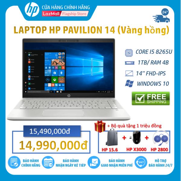 Bảng giá [Tặng balo, chuột, tai nghe]-Laptop HP Pavilion 14-ce2038TU (Core i5-8265U/4GB RAM/1TB HDD/14 INCH FHD/Win 10/Pink) 6YZ21PA - Hàng Chính Hãng Phong Vũ