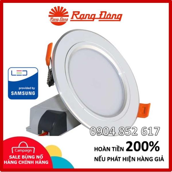 Đèn âm trần đổi màu Rạng Đông 12W, khoét lỗ 110mm, Viền Vàng/Bạc, ChipLED Samsung