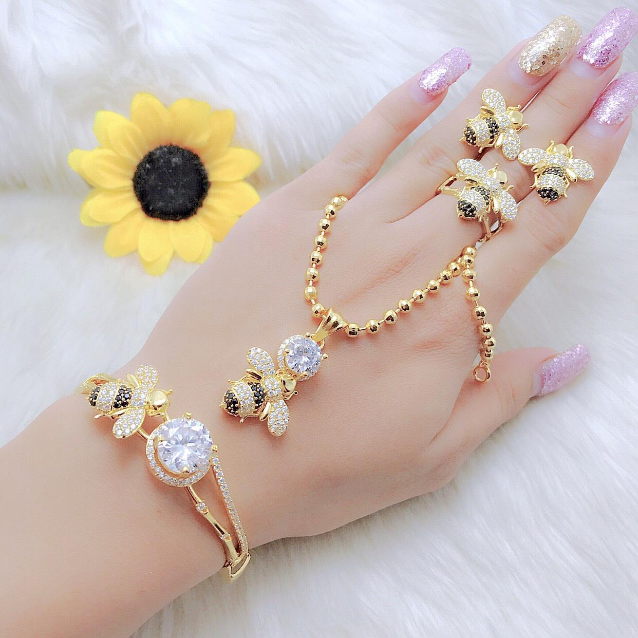 Bộ Nữ Trang Con Ong - Givishop - B4090756 - [ Chất liêu bạc pha, cam kết không đen không dị ứng ] - mẫu trang sức đẹp phụ nữ, nhung mau trang suc dep , mau nhan trang suc dep, nhung mau trang suc dep, mẫu trang sức vàng đẹp