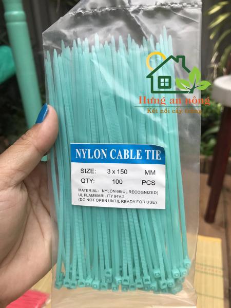 [HCM]Dây rút nhựa màu xanh ngọc 2.5x150mm