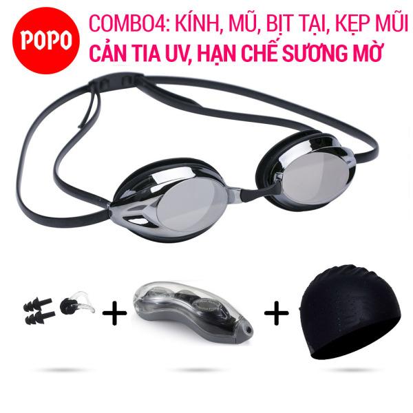 Kính bơi chuyên nghiệp 1154G, mũ bơi trơn, bịt tai kẹp mũi POPO Collection mắt kính nhỏ gọn, chống tia UV, chống lóa kiểu dáng thời trang cao cấp