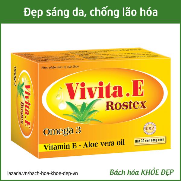 Viên uống đẹp da Vitamin E Omega 3 chống lão hóa, ngừa nếp nhăn, sáng hồng da - Hộp 30 viên dùng 1 tháng