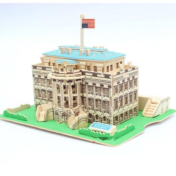 Mô Hình Lắp Ráp Gỗ 3D  (KT-01) Lâu đài Nhà Trắng Có Giá Tốt