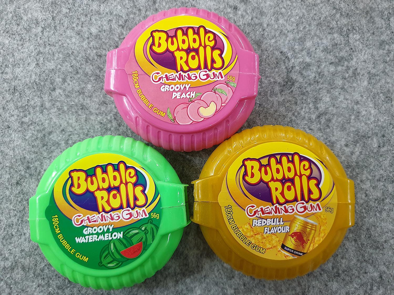 [Hot] Combo 3 Hộp kẹo Singum ( cao su ) cuộn siêu dài Hubba Bubba bubble rolls chewing gum dài 180cm vị Red Bull ( Bò húc ), vị Dưa Hấu, Đào ( Mẫu mới  - Nội địa Thái Lan - Xách tay Thái ) )