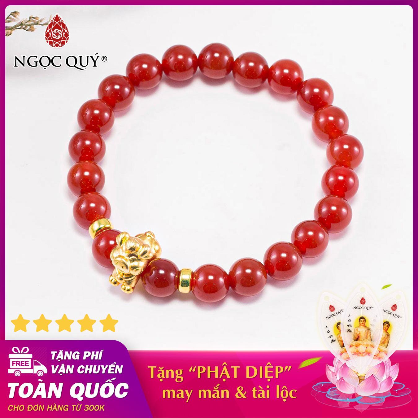 Vòng tay phong thủy đá mã não đỏ charm tuổi hợi bạc mạ vàng 24k mệnh hỏa , thổ - Ngọc Quý Gemstones