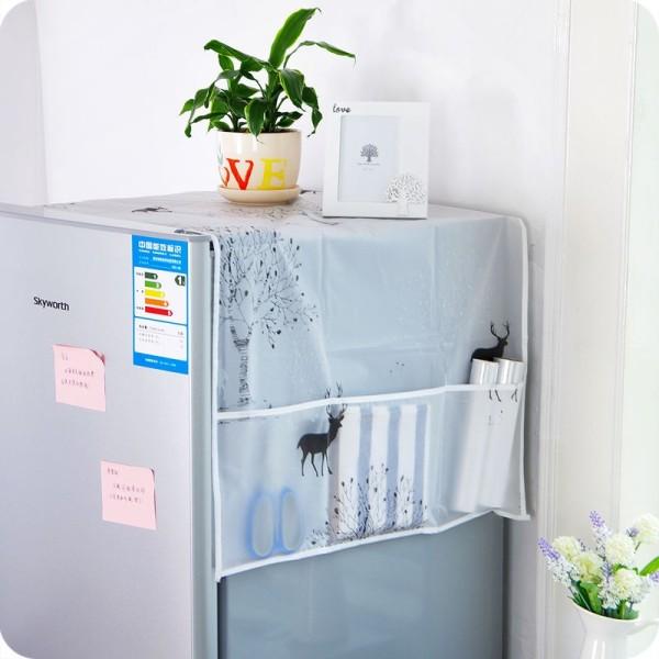 Khăn phủ tủ lạnh, tấm phủ tủ lạnh có ngăn, khăn phủ tủ lạnh có ngăn chống thấm dễ thương, phụ kiện nội thất, Huy Linh