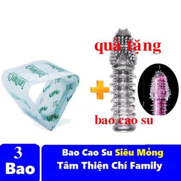 Hộp 3 chiếc - Bao cao su Tâm Thiện Chí mỏng trơn Family gia đình - tặng bao cao su