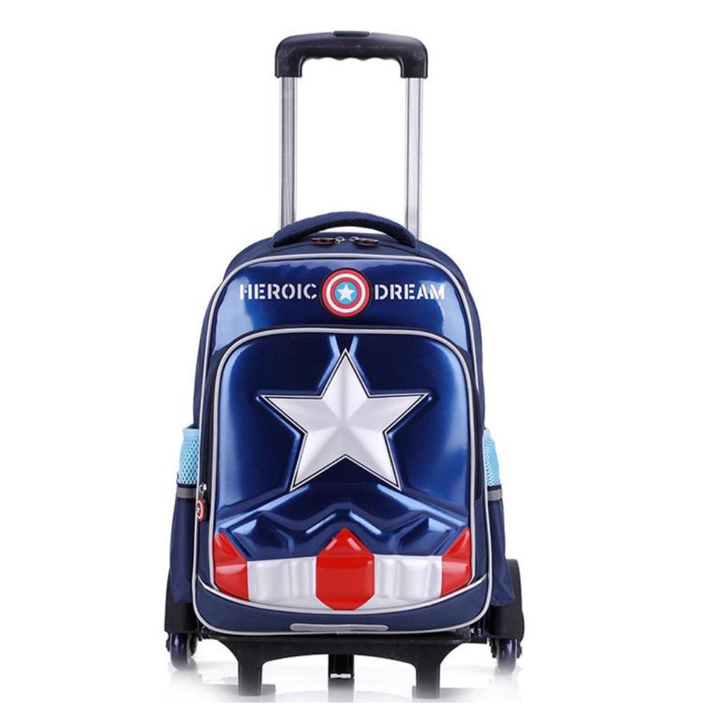 Ba lô kéo lướt trên mọi địa hình 6 bánh xe Captain America Học sinh tiểu học cao cấp Tặng dụng cụ học tập