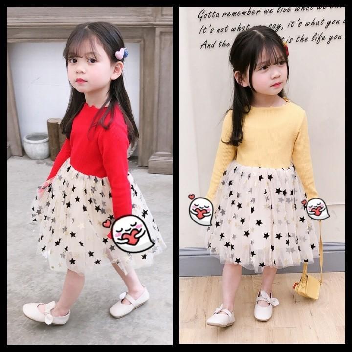 Giá bán Váy công chúa hoạ tiết ngôi sao - áo chất len tăm, chân váy sao 2 lớp Quảng Châu - dáng tiểu thư cực xinh cho bé gái (Hàng bán shop và siêu thị)