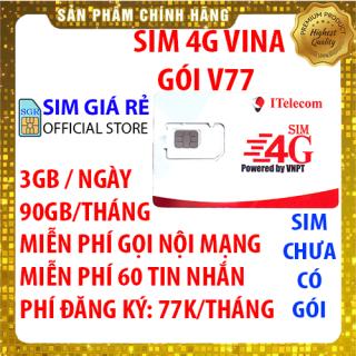 Sim 4G Vina gói 3GB ngày (90GB tháng) hãng Itelecom + Miễn phí gọi nội mạng Vinaphone - Giống như sim 4G Vinaphone VD89P (VD89 Plus) - Shop Sim Giá Rẻ thumbnail