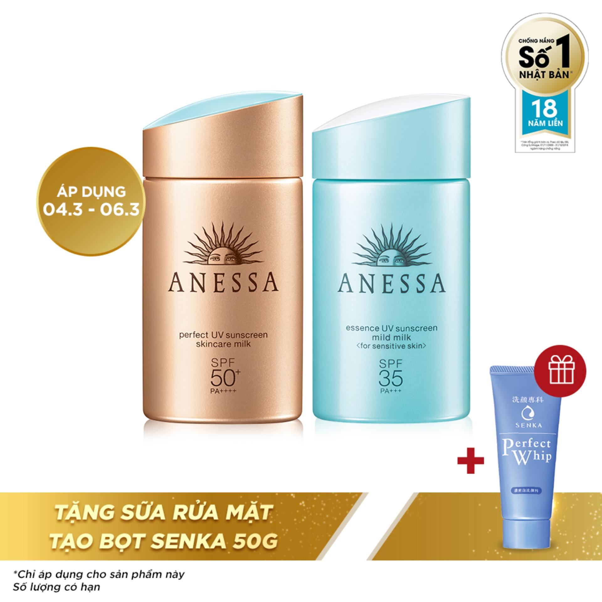 Bộ đôi kem chống nắng Anessa tiện lợi  (Perfect UV Sunscreen Skincare Milk - SPF 50+, PA++++ - 60ml + UV Sunscreen Mild Milk - SPF35, PA+++ - 60ml) nhập khẩu