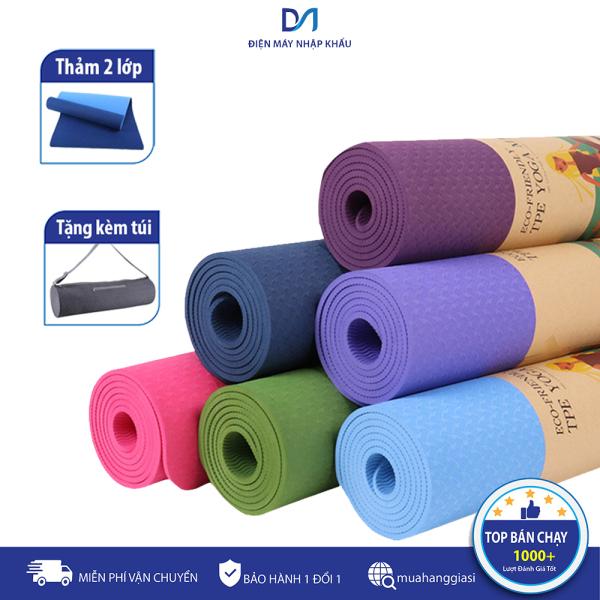 [TẶNG TÚI ĐỰNG THẢM] [LOẠI TỐT] thảm tập yoga 2 lớp, thảm tập yoga cao cấp, thảm tập yoga tpe 2 lớp 6mm