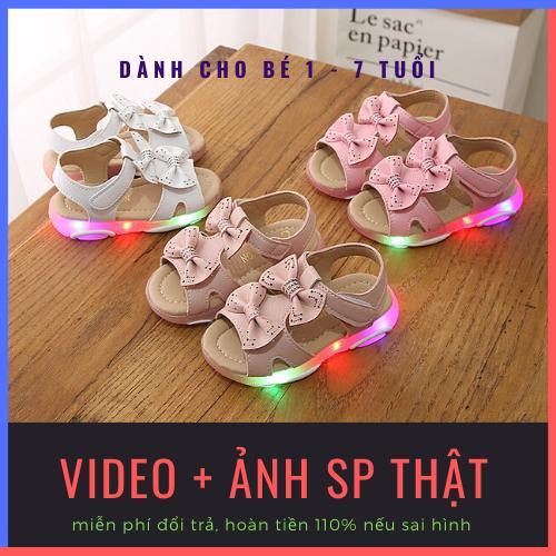 Giá bán Dép sandal công chúa màu hồng có đèn led nhập nháy, gắn nơ kép xinh xắn cho bé gái từ 1-6 tuổi