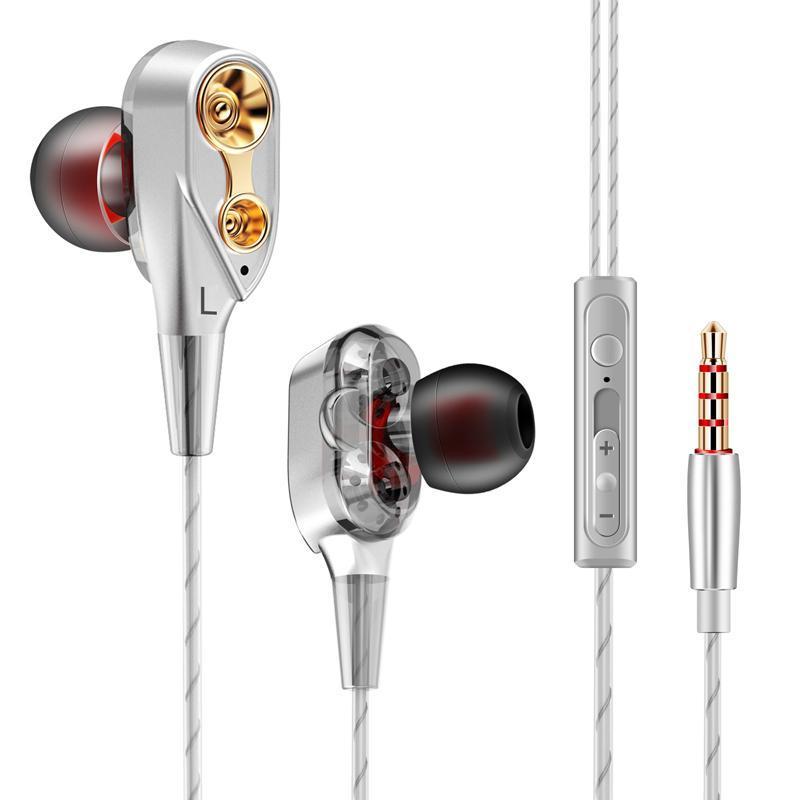 [HCM]Xả kho - Tai nghe HiFi lõi kép 4 sợ cuốn 4 loa mini bass siêu trầm dùng cho nhiều dòng điện thoại