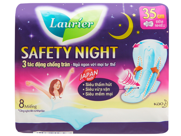 Băng vệ sinh ban đêm Laurier Safety Night siêu an toàn 8 miếng 35cm cao cấp