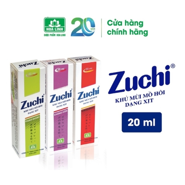 Xịt khử mùi mồ hôi Zuchi - Hương nhẹ tự nhiên, giúp khủ mùi nhanh chóng, ngăn ngừa hôi nách, hôi chân (20ml) - VTP Made in Việt Nam giá rẻ