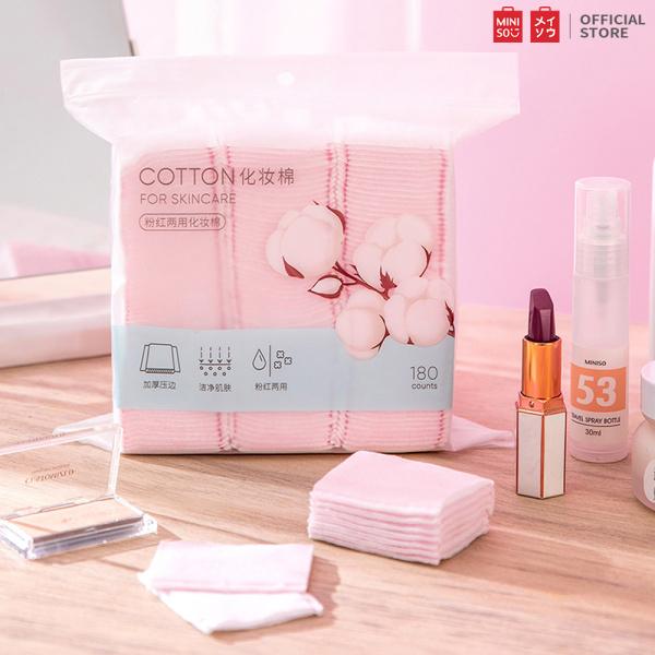 Bộ bông tẩy trang Miniso từ bông cao cấp 180 miếng cotton pad Miniso