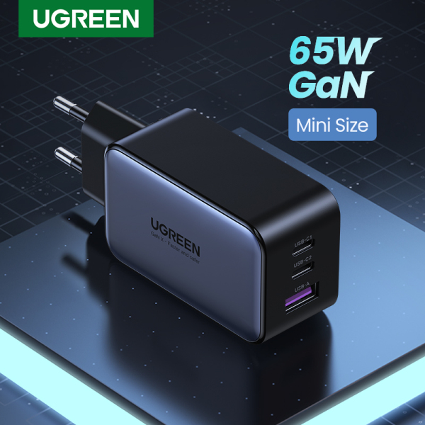 UGREEN 65W GaN PD Fast Charger Quick Charge 2C1A 2 Type C 1 USB A Charger with QC Portable for iPad Pro 2021 MacBook M1 iPhone 13 Pro Max 12 XR Macbook Air 4 2020 Pro Huawei P20 P30 P40 Sumsang S20