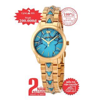 Đồng hồ nữ MK Petite Runway Mercer MK6673 - Vỏ, dây màu Vàng (Gold), mặt màu lam (turquoise), dây đính đá pha lê Swarovski, size 28mm thumbnail