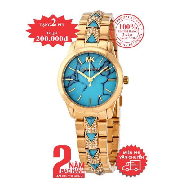 Đồng hồ nữ MK Petite Runway Mercer MK6673 - Vỏ, dây màu Vàng (Gold), mặt màu lam (turquoise), dây đính đá pha lê Swarovski, size 28mm